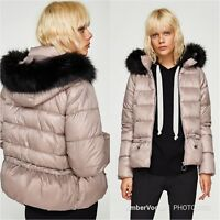 ZARA PINK QUILTED PUFFER JACKET DETACHABLE FUR HOOD SIZE S
