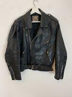 Men's Vintage Brando Style Leather Biker Jacket Black Motorcycle Size M Medium