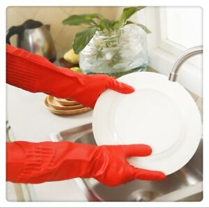 2 Pairs XL Long Sleeve Red Rubber Gloves For Dishwashing Household Cleaning