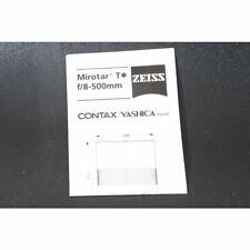 Zeiss Mirotar T* F/8 - 500mm Datenblatt Contax / Yashica Mount - Anleitung