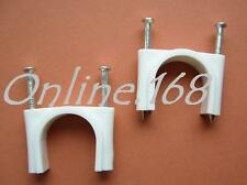 Cable Clips – Large Round Double Nail Cable Clips  30mm  in WHITE