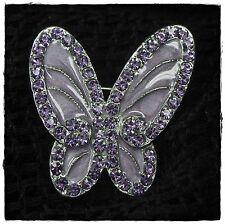 Neu BROSCHE SCHMETTERLING mit SWAROVSKI STEINE violet/violett/lila
