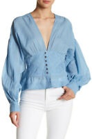 Free People Womens True Color OB769738 Top Relaxed Blue Size XS
