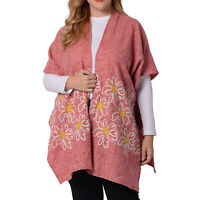 Pink Tweed Floral Border Embroidered Kimono Printed Women Wear 100% Polyester