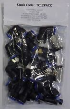 Neumático 12mm Push-En Accesorios Multipack (recto, codos & Tees) TC 12 Pack