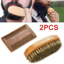 2x Mens Beard Brush Boar Bristle Beard Brush Moustache Wood Round Handle Natural
