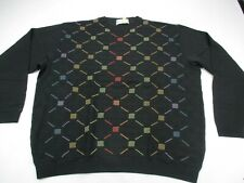 St Croix Mens Pullover Sweater Crew Neck Black Diamonds  Made in USA L/S Wool
