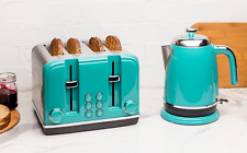 Haden Salcombe Deep Teal Cordless Rapid Boil 1.7 Liter AND 4 Slice Toaster Set