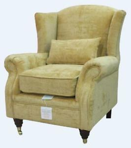 Ashley Wing Chair Fireside High Back Armchair Velluto Gold Fabric