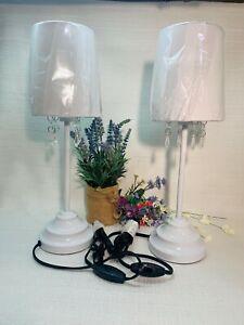 "Set of 2~ White Bedside Lamps w/ Hanging Prisms~17"" Hi, 4-3/4"" Base~Bulbs Incl"