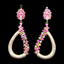 Natural PINK SAPPHIRE Birthstone & Cubic Zirconia 925 STERLING SILVER EARRINGS