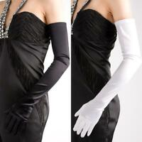 Fashion Ladies Party Prom Evening Wedding Brisal Long Satin Finger Gloves Y2