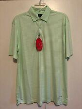 Greg Norman Men's Ml75 Green & White Stripe Golf Shirt Sz. Large
