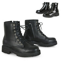 Womens Lace Up Ankle Boots Chunky Platform Ladies Zip Goth Biker Booties Shoes
