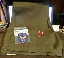 WWII Lot: WW2 Air ROTC Patch, WWII Army Good Conduct Medal and Army Uniform Pant