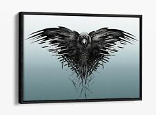 GAME OF THRONES CROW THIRD EYE -FLOAT EFFECT CANVAS WALL ART PIC PRINT- BLUE