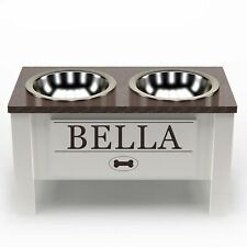 Personalized Raised Dog Bowl Stand with Internal Storage