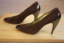 Walter Steiger Vintage Brown Suede Signature Curved Heel Metallic Cap Toe 7.5 B