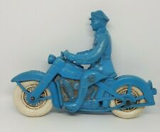 1940's RELIABLE Rubber Police Motorcycle Canada Toy Mountie Harley Indian - Blue