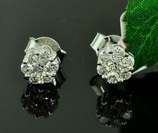 14k solid white gold Natural Diamond  Stud Earring  Cluster made in USA