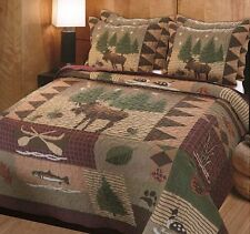 King Quilt Set Bedspread Shams Rustic Bedroom Moose Log Cabin Bedding 3 Piece