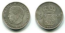 5 Kroner Schweden 1955 TS  Silber
