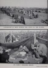1917 WWI WW1 CANADIAN ARMY PRINT BEHIND THE LINES ON SOMME TENTS TROOPS SHAVING