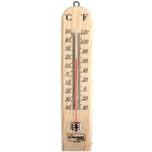 WOOD THERMOMETER Room Temperature Gauge C F Inside Outside Wall Mounted