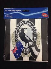 AFL Collingwood Magpies Napkins Paper Serviettes Pack 16