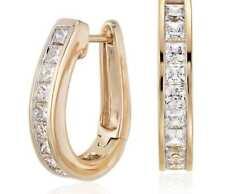 Pave 1,50 Cts Princess Cut Natürliche Diamanten Creolen In Solides 18K Gelbgold