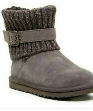 UGG Australia Cambridge Knit Suede Boots Chesnut Gray Winter Women's Size 6