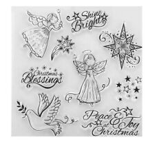 9 CHRISTMAS CLEAR RUBBER STAMPS-XMAS ANGELS/DOVE/STARS-GREETINGS STAMP-PEACE/JOY