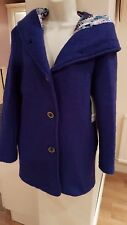 BNWT fab blue wool silk-lined hooded jacket coat boutique find size S 8 10 36 38