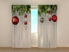 Window Curtain Christmas Decoration Print Ready to Hang Wellmira Holiday Decor