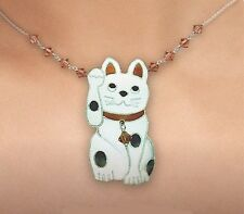 LUCKY CAT Cloisonne NECKLACE by Bamboo Jewelry Enamel STERLING Fall - Gift Boxed