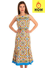 RRP €1955 DOLCE & GABBANA Trumpet Dress Size IT 46 / L Majolica Made in Italy
