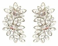 Zest Clear Swarovski Crystal Flower Drop Clip-On Earrings