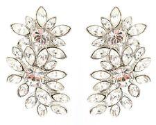 Zest Clear Swarovski Crystal Flower Drop Clip-On Earrings