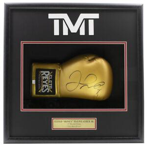 Floyd Mayweather Jr. Signed Right Gold Cleto Reyes Boxing Glove Shadowbox PSA