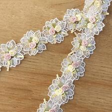 1 Yard Flower Embroidered Lace Trim Ribbon Fabric Diy Wedding Dress Sewing Decor