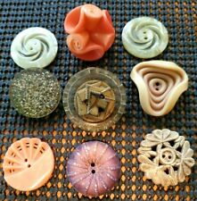 Interesting Playful Galalith Celluloid Buttons Curled Pierced Layered Buttons 9