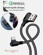 Câble chargeur rapide Samsung USB-C Type C angle 90° LED 5V 2.4A 1m Tresse Noir
