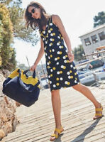 Ex Boden Tarifa Navy Yellow Spotted Polka Dot Cotton Summer Jersey Dress (i5)