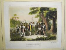 Colón.Descubrimiento.Isla Española.Litografia original.Madrid 1856-63