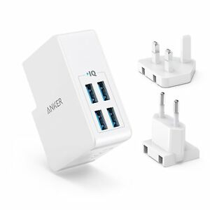4 USB Wall Charger Anker 27W 4-Port USB Wall Charger PowerPort 4  UK and EU Plug