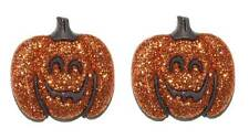SMILING GLITTERY HALLOWEEN PUMPKIN STUD EARRINGS (H257)
