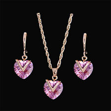 Vogue 18k Gold Plated Color Zircon Love Heart Woman Necklace Earring Jewelry Set