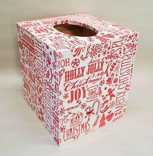 Handmade Decoupage Wood Tissue Box Cover, Holiday, Merry Christmas