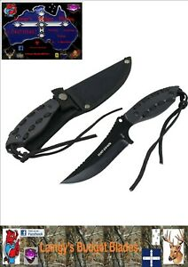 """Hunt-Down 8"""" Black Hunting/Skinning Knife With Black Paracord Threaded Handle"""