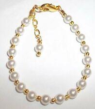 Newborn Baby Bracelet:  Snow White Pearl & 14K Gold Plated Custom Size